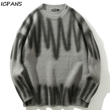 ICPANS High Streetwear Sweater Pullover Men And Women swetry Couple Striped Print Loose retro Hip Hop