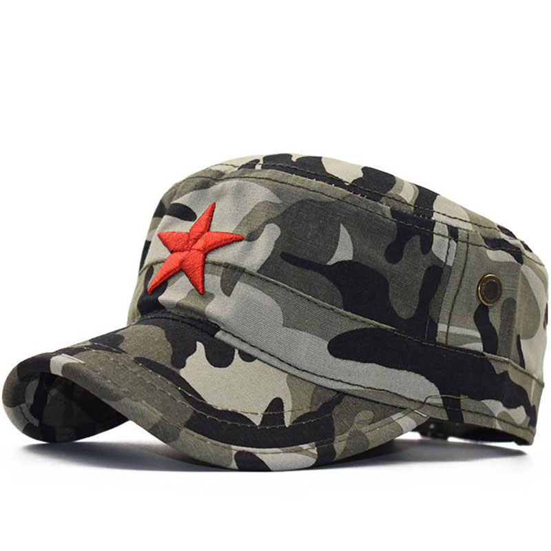 Simple Classic Camouflage Men Five stars 3D embroidery Military Caps Army Cadet Hats Cotton Adjustable Flat Top Patrol Cap