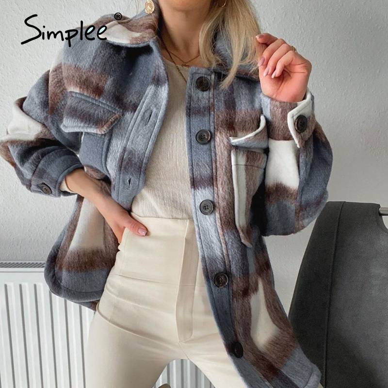 Simplee Fashion Blue Plaid Women Coats Long Sleeve Jacket Ladies Long Woolen Jacket Casual Plaid Top Female Long Shirt Coat 2020