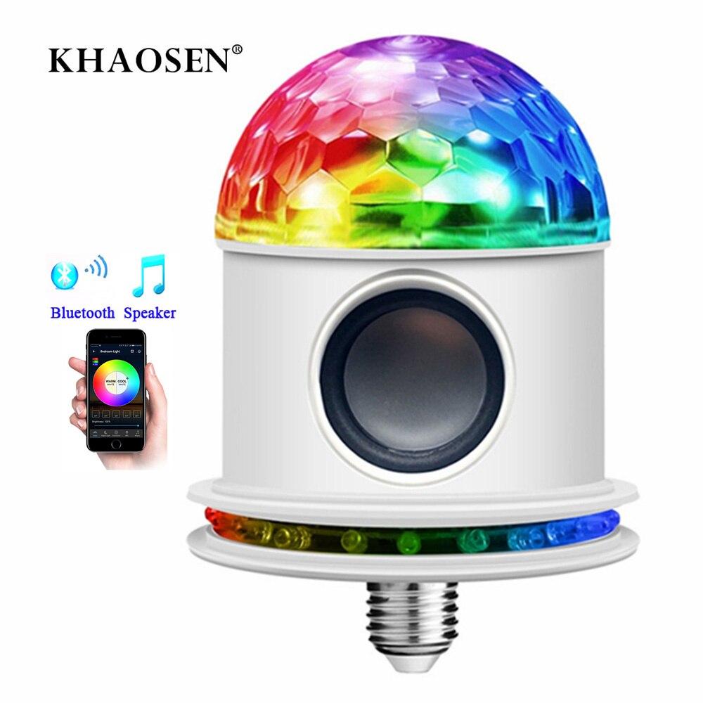 E27 Bluetooth Speaker 3W/7W RGB Bulb LED Lamp 110V 220V Smart Led Light Music Player 12W Stage Rotating Lights Holiday Pairing