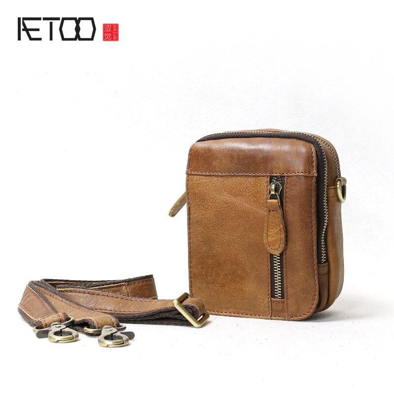 AETOO Leather Shoulder Bag Casual  Messenger Bag Mini Bags Men's Kids Small summer Men's Bag