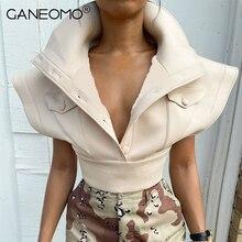 Apricot Jacket Turn Down Collar Single Breasted Crop Top Women Sleeveless Casual Vest Coat Autumn Winter 2021 Fashion Streetwear