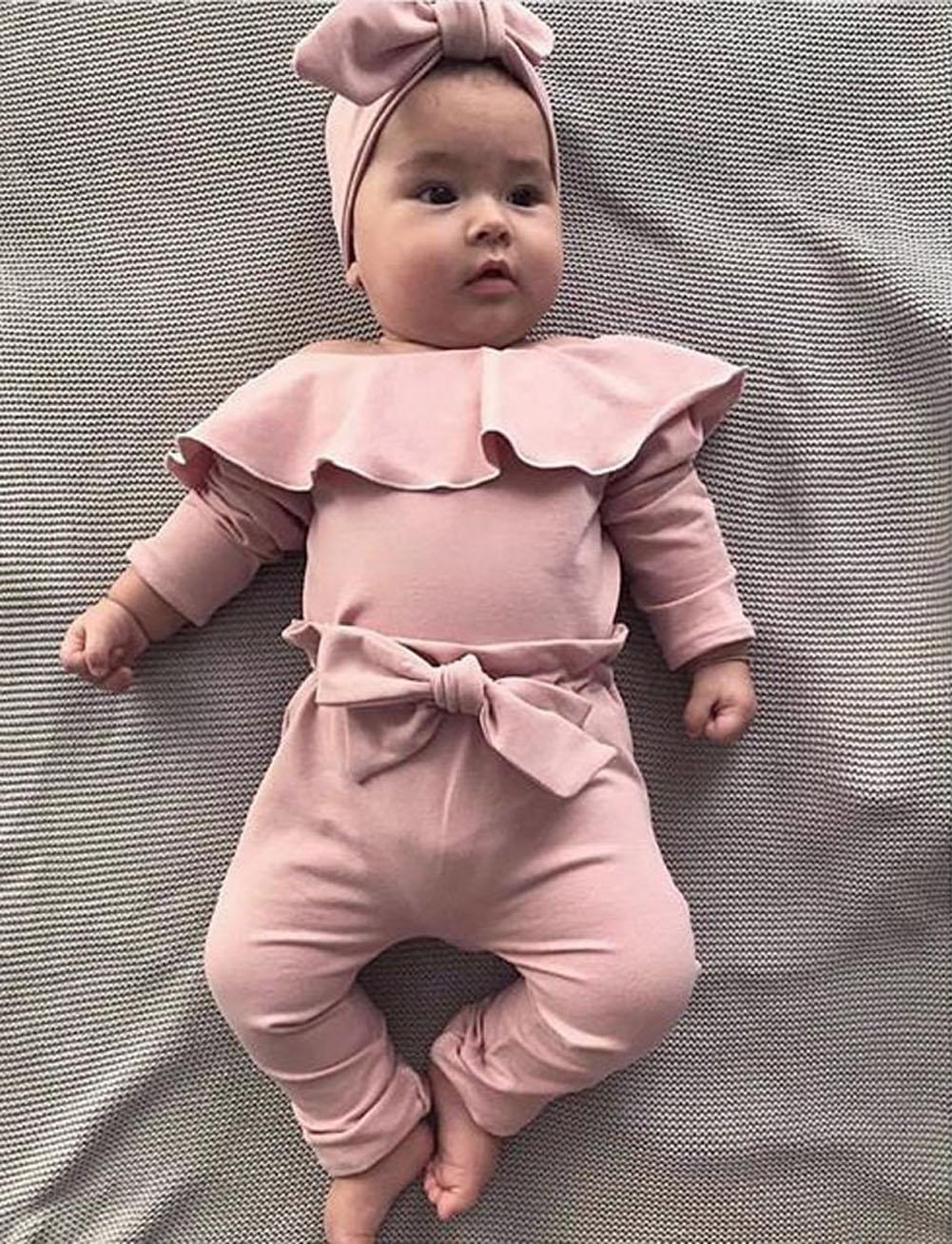 ><font><b>2PCS</b></font> <font><b>Toddler</b></font> <font><b>Kids</b></font> Baby Girls Ruffle Bodysuit 2020 Baby Romper Pink Tops Bowknot PP Pants Winter Outfits Clothes