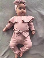 2PCS Kleinkind Kinder Baby Mädchen Rüschen Body 2020 Babyspielanzug Rosa Tops Bowknot PP Hosen Winter Outfits Kleidung