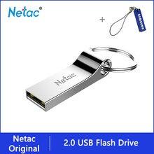 Netac-U275 unidad Flash USB 2,0, con llavero, 8GB, 16GB, 32 GB, lápiz de aleación de aluminio, USB 2,0, 8, 16, 32 GB, de Metal, plata, disco en U