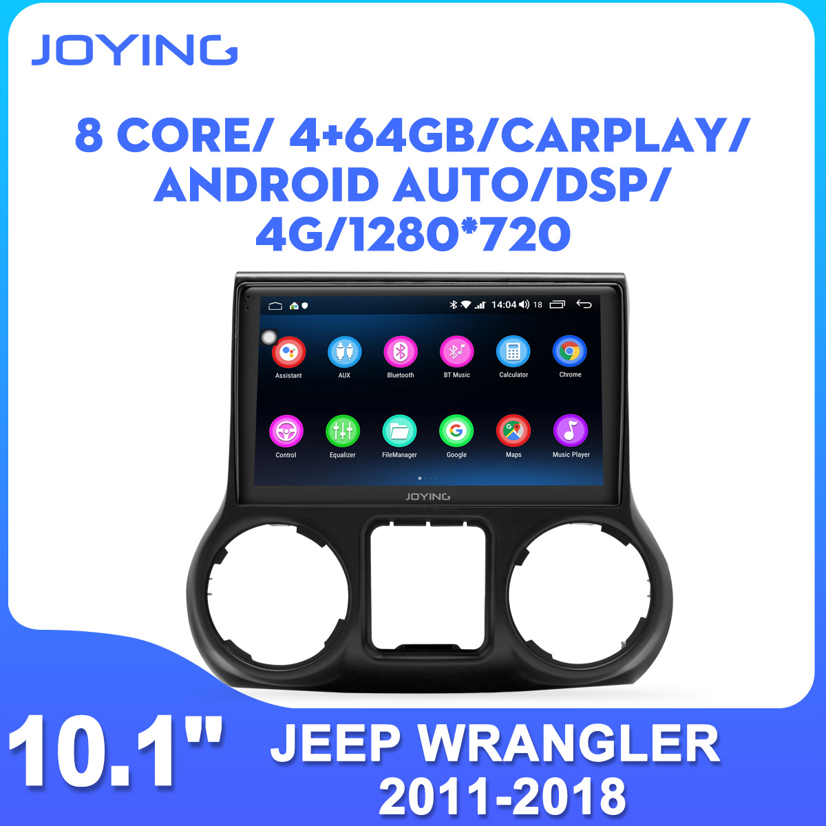 JOYING <font><b>10</b></font> inch head unit Android 8.1 car radio player stereo audio GPS Navigation for Jeep Wrangler 2011-2018 (left drive) DSP image