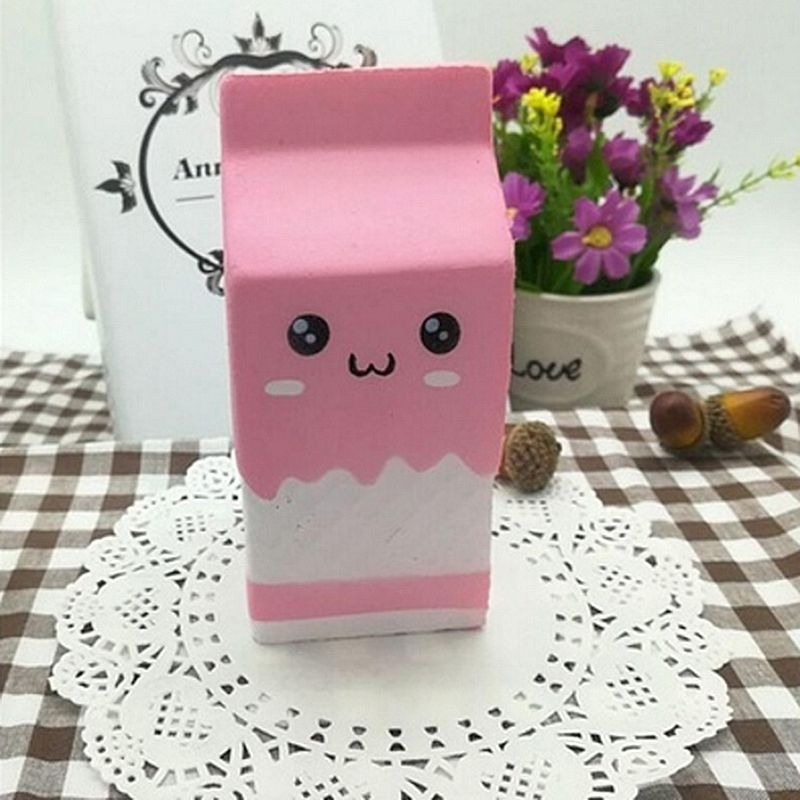 Squishy Slow Rising Milk Box, Foci Cozi Kawaii Squishy Charms, Hand Pillow Toy, Stress Relief Toy Pink