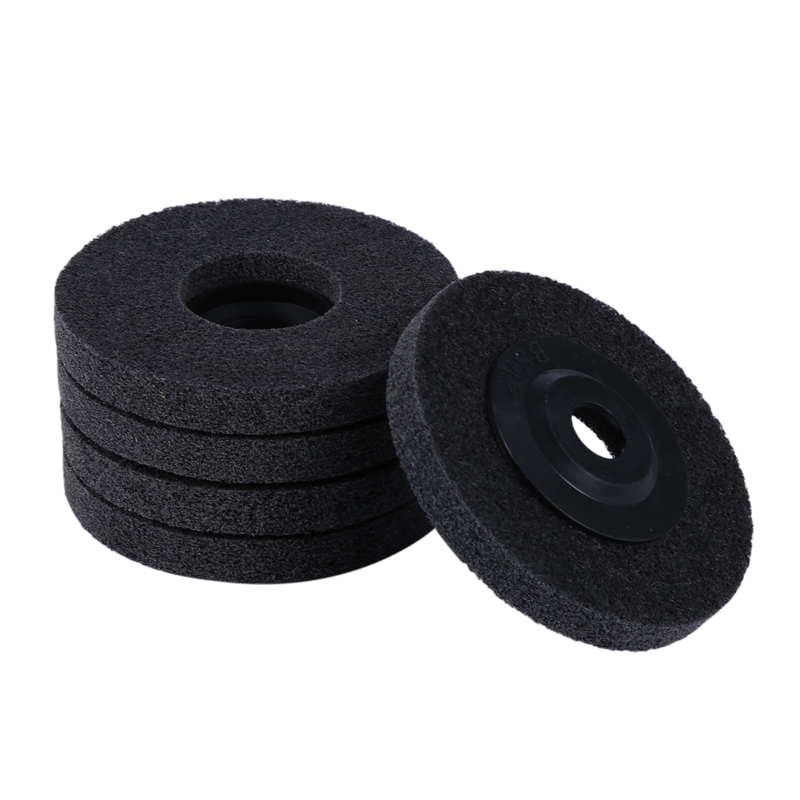 5Pcs 4 Inch Nylon Fiber Polishing Wheel Non Woven Abrasive Flap Disc Grinding Polishing Wheel for Metal Ceramics Marble Wood Cra|Polishers| |  - title=