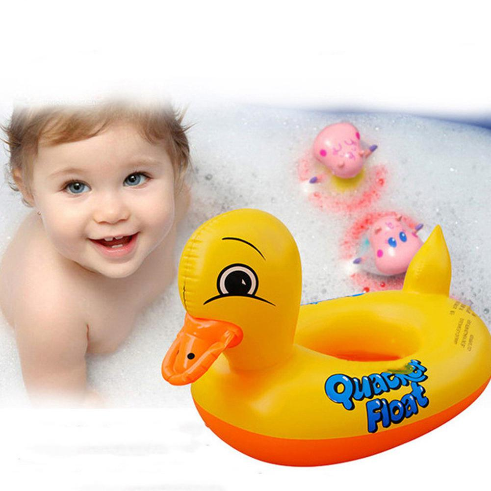 Kuulee Cute Cartoon Duck Shape Inflatable Float Swimming Ring Toy For Kids Random Color High Quality Child Interesting Toys
