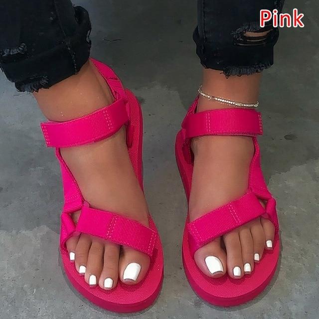 Summer Soft Slip Sandals 2020 Women Buckle Strap Foam Sole Durable Sandals Ladies Outdoor Casual Beach Shoes Woman Plus Size 45 1
