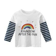 2020 New Spring T Shirt Cartoon Rainbow Stripes T-shirt Boys T Shirts Kids Shirt Boys Clothes Cotton O-neck Long Sleeve Casual cotton notch neck long sleeve t shirt