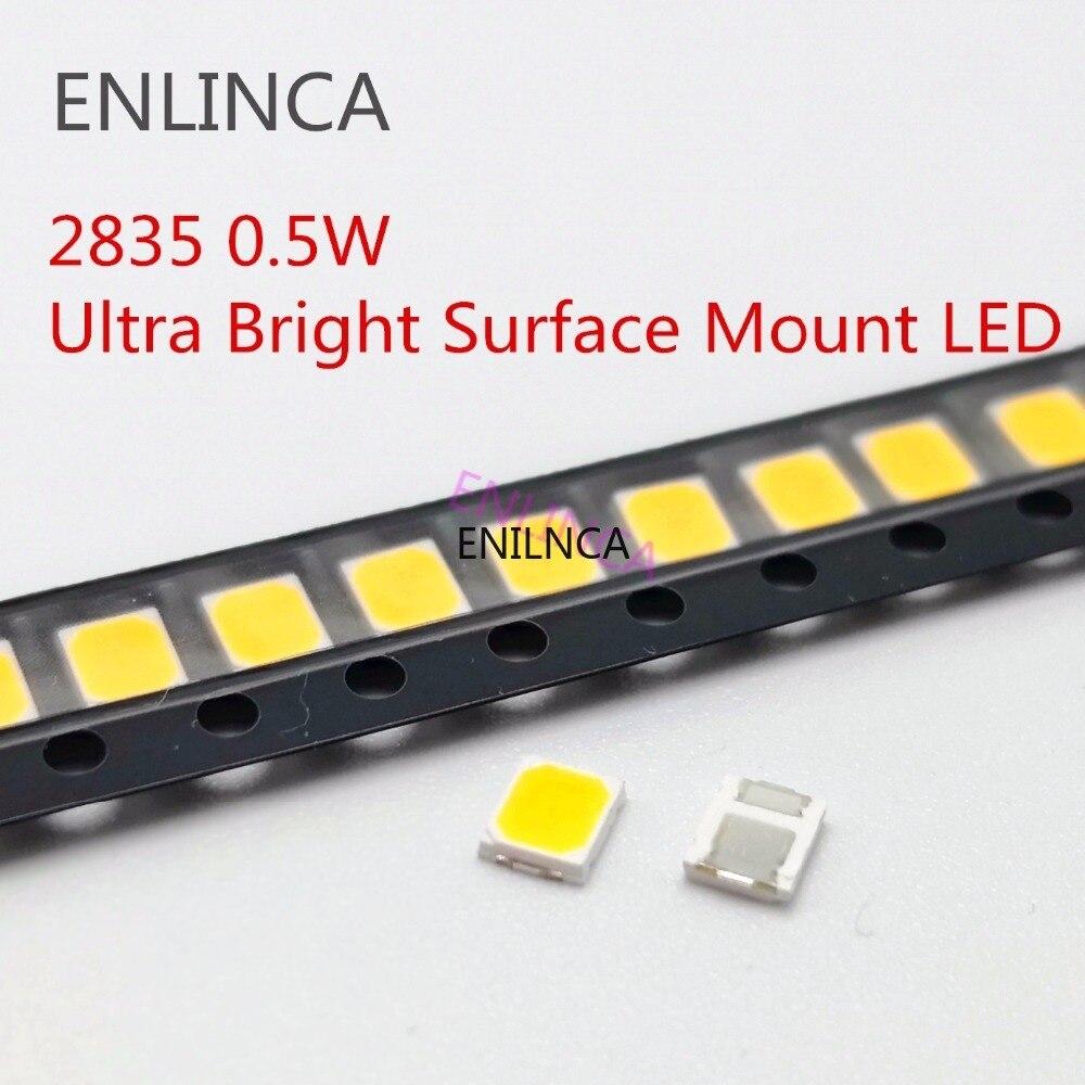 100pcs SMD LED 2835 White Chip 0.5 W 3V 6V 9V 18V 50-55LM Ultra Bright Surface Mount LED Light Emitting Diode Lamp