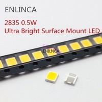 100 Uds LED SMD 2835 blanco Chip 0,5 W 3V 6V 9V 18V 50-55LM Ultra brillante de montaje en superficie de luz LED lámpara de diodo emisor