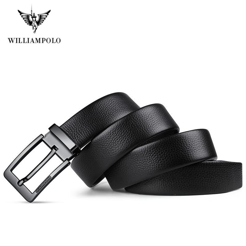 Image 5 - WilliamPolo brand design New casual business fashion Belt full grain leather Belt Silvery Belt Mens belt Pin Buckle Waist BeltMens Belts   -