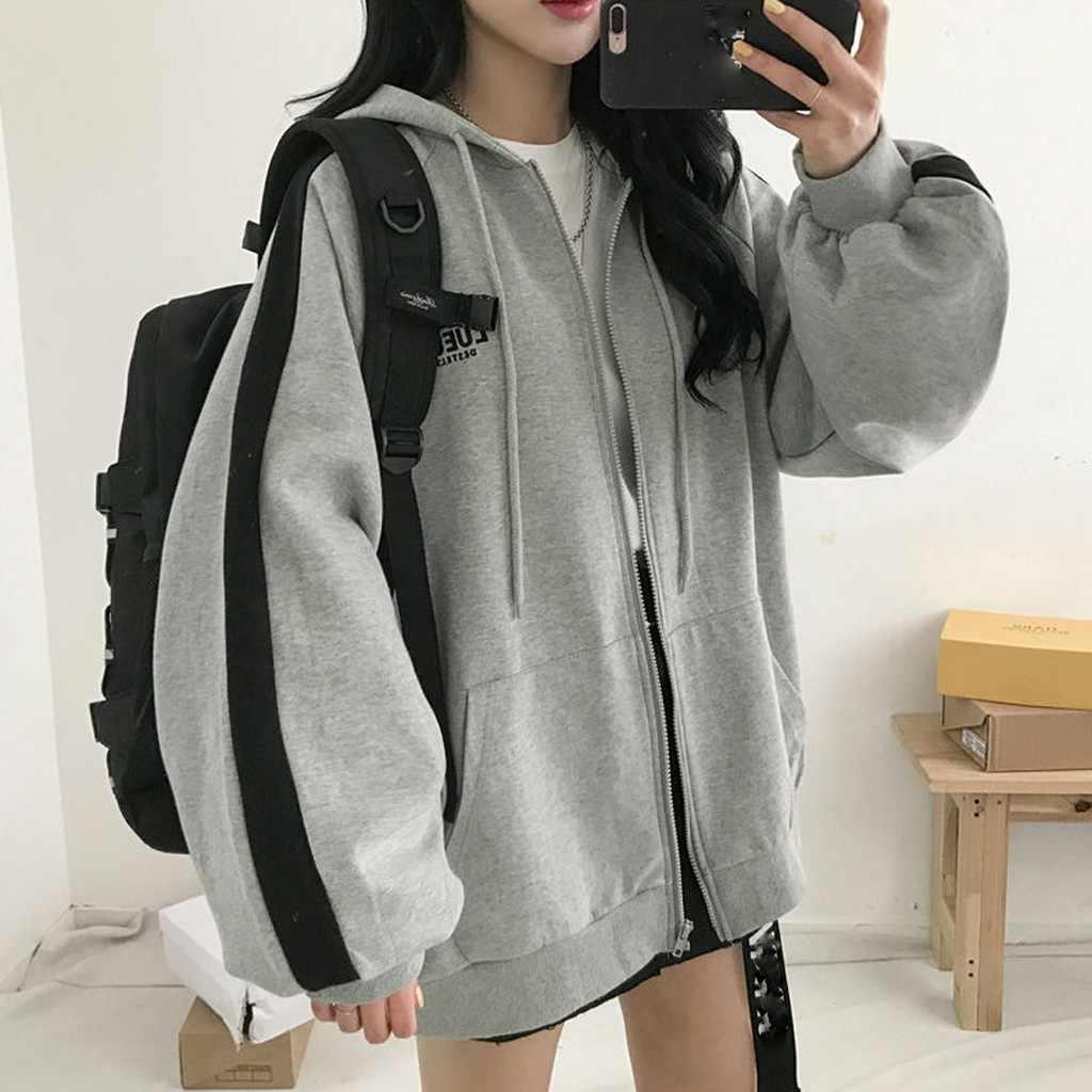 Moda feminina zip up hoodies esportes ao ar livre cardigan estilo coreano harajuku com capuz topo manga longa casaco solto quente