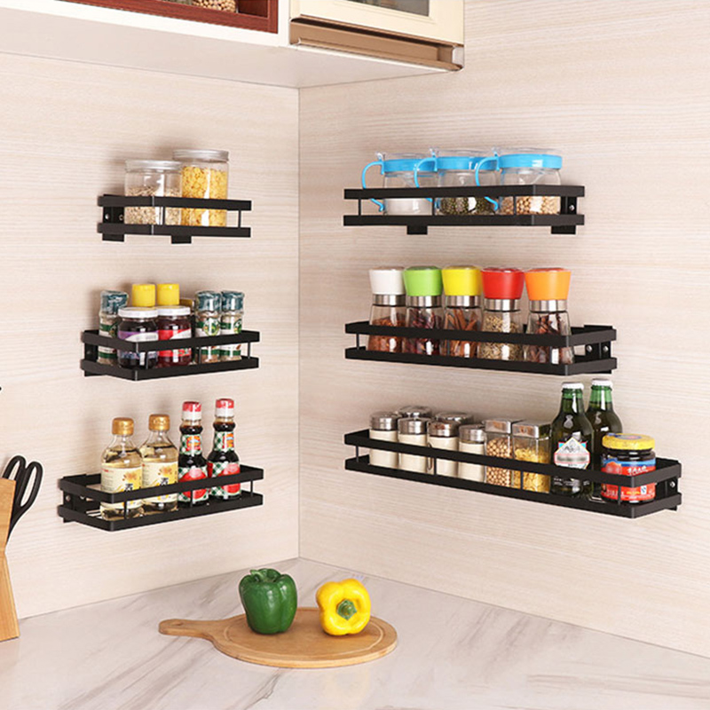 Baffect Kitchen Shelf For Spice Jars Metal Spice Rack Wall Shelves Paste/Drill Storage Rack Holder For Expand Space Keep Tidy