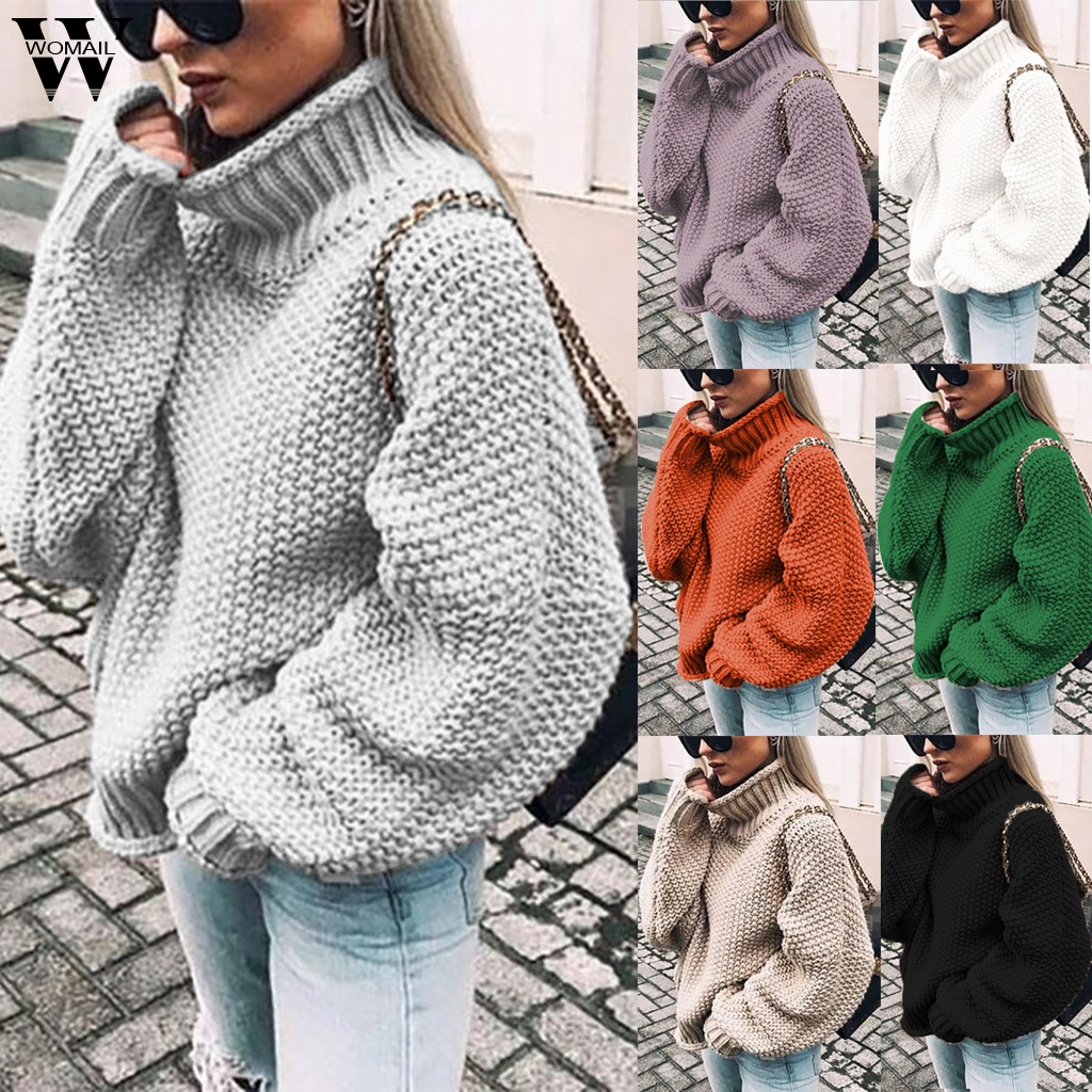 Womail Knitted Sweater Women Winter Warm Sweater Casual Sweet Solid Sweater 2019 Female Long Sleeve Loose Pullover Knitwear 827