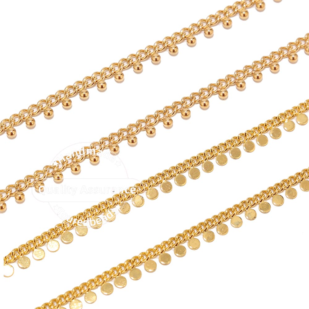 1 Meter Stainless Steel Gold Curb Link Chains with Ball Drop Disc Handmade Beaded Chain for DIY Jewelry Necklace Supplies