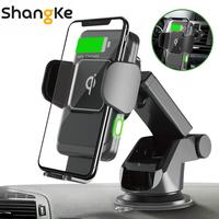 Wireless Car Charger 10W Auto Clamp 2 in 1 Qi Fast Charger Car Mount Air Vent Dashboard Phone Holder for iPhone X 8 Samsung S9