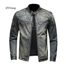 New European Style Stand Collar Bomber Pilot Blue Denim Jacket Men Jeans Coat Motorcycle Casual Slim Outwear Clothing Overcoat