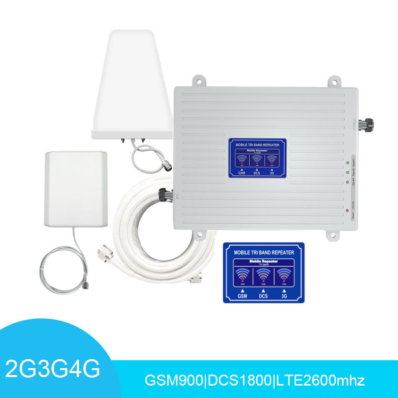 LCD Display Cellular Signal Amplifier Tri Band GSM/DCS/2600LTE Signal Repeater 70dB Cell Phone Signal Booster Panel+LDPA Antenna