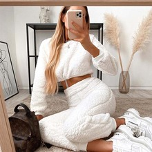 Casual Furry Crop Sweatshirt Top And High Waisted Joggers Women Pants Two Piece Set Tracksuit Women Outfits Autumn Winter Female