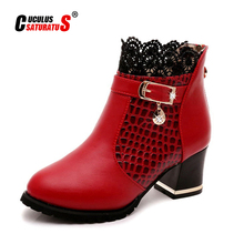 Cuculus Autumn Winter New Lace Fashion High Heels Women Shoes Woman Boots Ankle Casual Ladies Boot Metal Rhinestone Red 1037