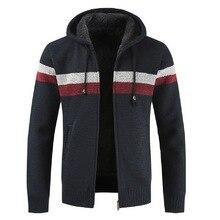 MoneRffi свитер пальто для мужчин Зимний толстый теплый кардиган с капюшоном Джемперы для мужчин полосатый кашемировый шерстяной вкладыш на молнии флисовые пальто для мужчин