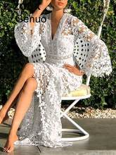 Femmes Robes Dentelle Robe Flare Manches V-cou Évider À Manches Longues Blanc Grande Taille Sexy Longues Robes de Soirée