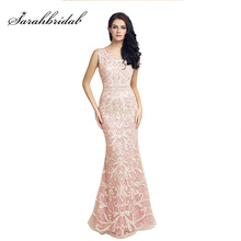 Prawdziwy obraz długie koronkowe Mermaid suknie wieczorowe szybka dostawa cekinami O Neck otwórz wróć kobiety formalne sukienki na przyjęcie OL212