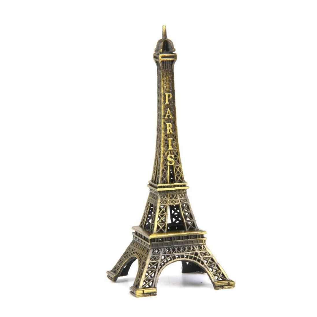 Torre Eiffel Statua di Metallo Mini Decorativo Torre Eiffel di Parigi Figurine Replica Del Supporto Del Basamento per La Decorazione-in Ottone
