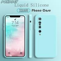 Custodia per telefono in Silicone liquido morbido con cornice quadrata per Xiaomi Mi 11 Ultra 10 9 8 10T A3 Lite 9T Pro Mix 2 2s 3 4 Cover posteriore