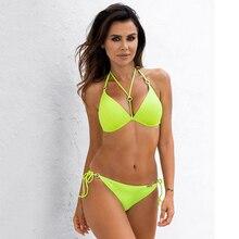 Bikinis Swimsuit Sexy Triangle Yellow Plus-Size Swimwear Bathing-Suit Push-Up Two-Piece