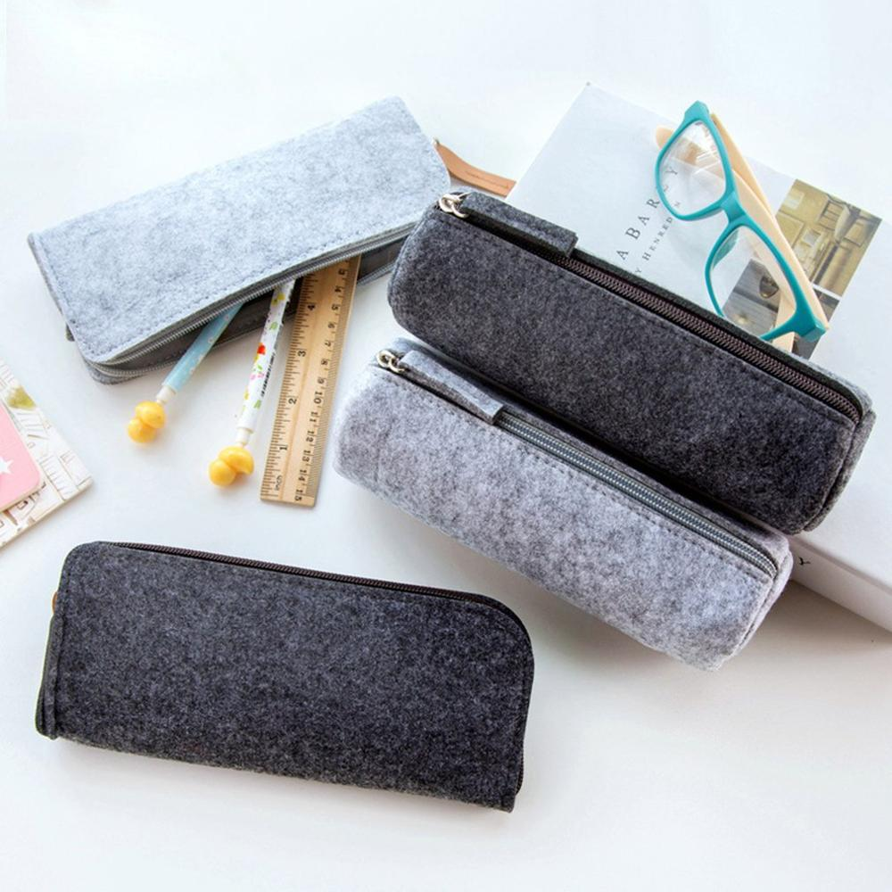 Pencil Bag Large Capacity Unisex Pencil Storage Case Non-woven Fabric Felt With Zipper Pencil Bag