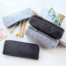 Pencil bag large capacity Unisex pencil storage case Non-woven fabric Felt with zipper