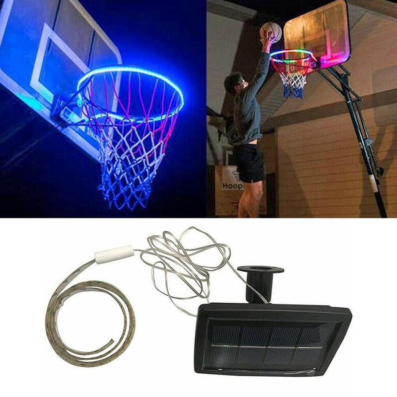 Colorful LED Basket Hoop Solar Charging Basketball Basket Hoop Rim Playing At Night Shooting Accessories Attachment