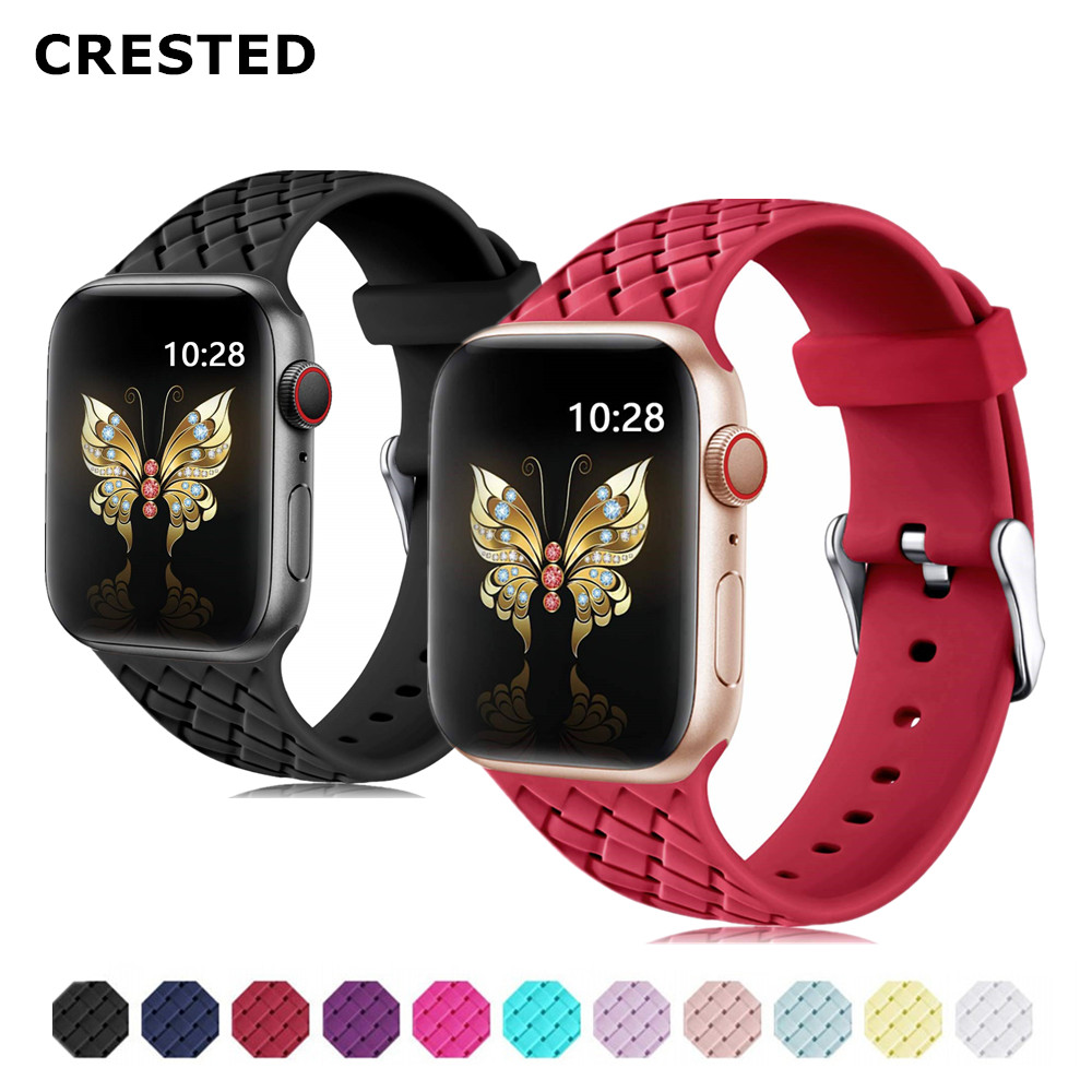 Sport Silicone Strap For Apple Watch 5 4 Band 44mm/40mm Correa Iwatch Series 5 4 3 2 1 42mm/38mm Rubber Wrist Watchband Belt