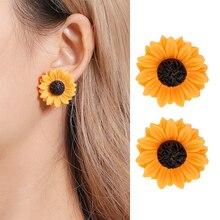 SMJEL Cartoon Sunflower Earings for Women Fashion Big Sun Flower Statement Earring Korean Studs Jewelry Best Friend Gifts