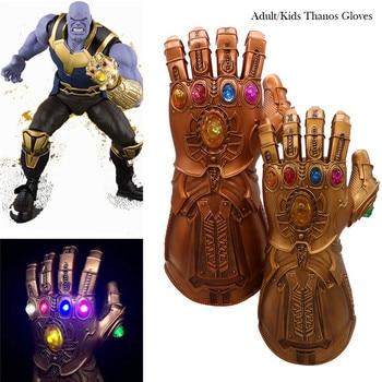LED Light 1: 1 Thanos Gloves Infinity Gauntlet Cosplay Infinity War Superhero  Gloves Halloween Party Toy Adult&Kids Prop led light thanos infinity gauntlet avengers infinity war cosplay led gloves pvc action figure model toys gift halloween props