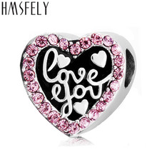 HMSFELY Necklace European Fashion New Gift Accessory Pink Stainless Steel Heart Beads Fit Women Charms Bracelets Jewelry Making