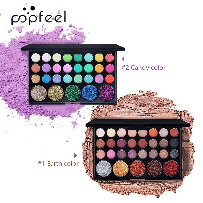 POPFEEL Glitter Eyeshadow Galaxy Palette Natural Makeup Bright/Warm Eye Glam Base Nude Set