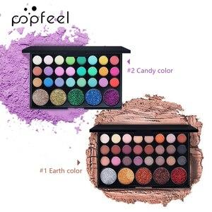 POPFEEL Glitter Eyeshadow Galaxy Palette Natural Makeup Eyeshadow Bright/Warm Eye Makeup Glam Eyeshadow Base Nude Eyeshadow Set