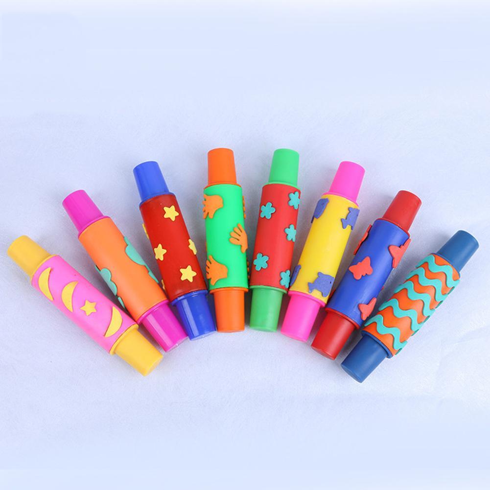Flower Star Sponge Roller Paintbrush DIY Children Rolling Pin Painting Kids Toy Drawing Graffiti Tool Art Materials Gift For Kid