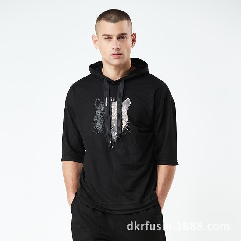 Summer New Style Cool Animal Printed Hooded Knitting Suit Men's Sports Men Running Short Sleeve Tz378