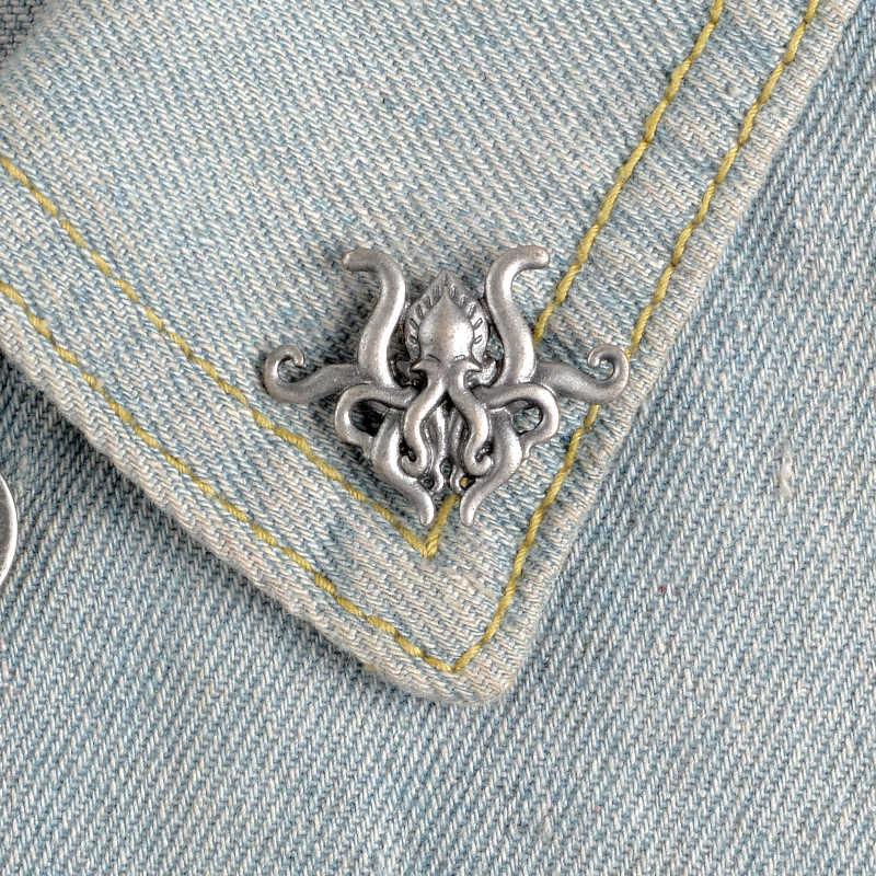 메탈릭 실버 문어 촉수 브로치 옷깃 핀 h.p. Lovecraft cthulhu 영화 소설 팬 셔츠 가방 배낭 쥬얼리