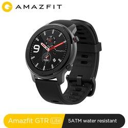 In Lager Amazfit GTR 47mm Lite Smart Uhr 5ATM Wasserdichte Smartwatch 24 Tage Batterie Musik Control Silicon Strap