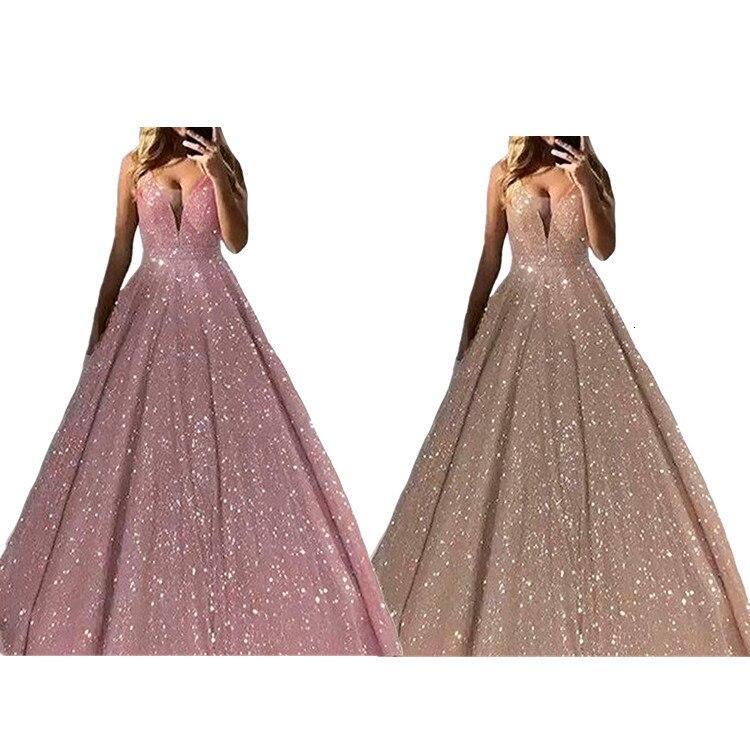 BacklakeGirls Sparkling Sequined Sexy Deep V Neck A-line Vintage Evening Dress Six Colors Evening Gown Bestido De Fiesta Noche