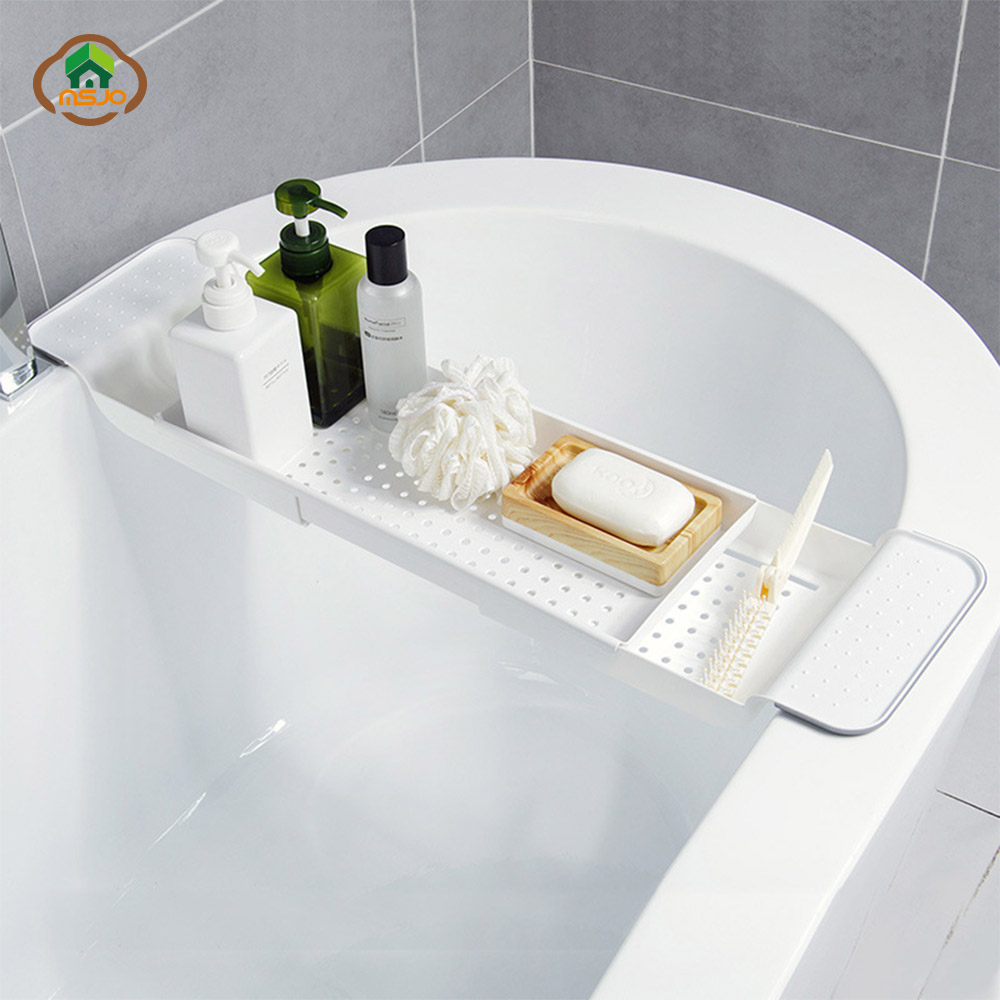 MSJO Bathtub Shelf Shower Organizer Expandable Holder Kitchen Basket Tray Accessories Multifunctional Bathroom Storage Shelves