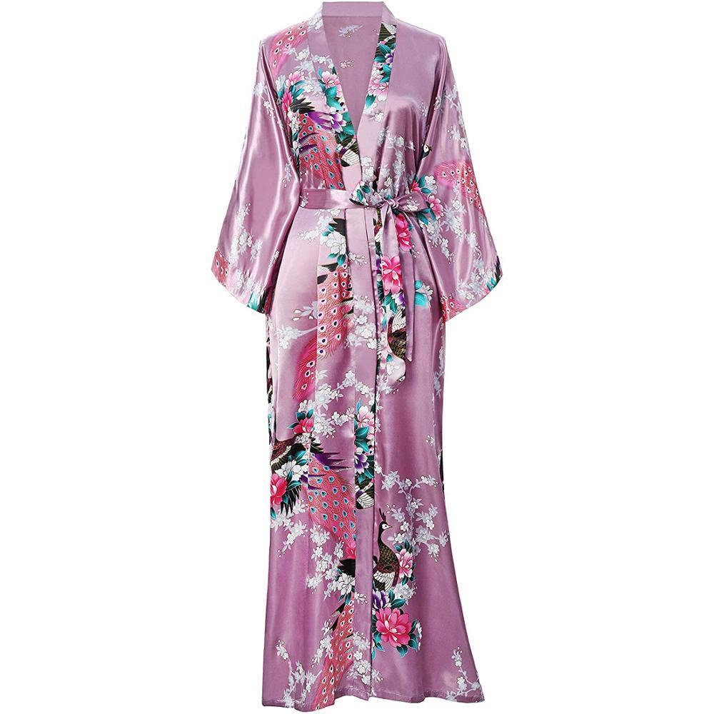 Pink Chinese Women Silk Rayon Robes Long Sexy Nightgowns Yukata Kimono Bath Gown Sleepwear Plus Size S M L XL XXL XXXL A-030