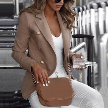 Womens Ladies Long Sleeve Blazer Suit Coat Office Work Jacket Double-breasted Oversized Fashion Solid Color 2020